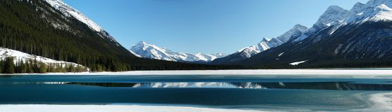 Panorama of mountain lake stock photography