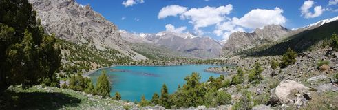 Panorama mountain lake in background Royalty Free Stock Photo