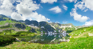 Panorama of the mountain lake. With coasts overgrown with grass and mountain pine on the background of the craggy mountain slopes and sky with clouds royalty free stock image