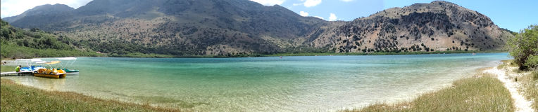 Panorama of mountain lake Greece Stock Photos