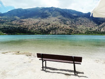Panorama of mountain lake Greece Stock Photography