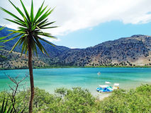 Panorama of mountain lake Greece Stock Photo