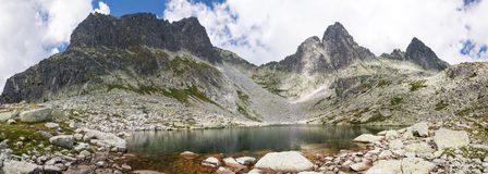Panorama of mountain lake Royalty Free Stock Photography