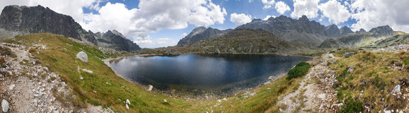 Panorama of mountain lake Stock Images