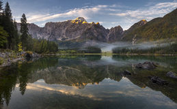Panorama of mountain lake Stock Photos