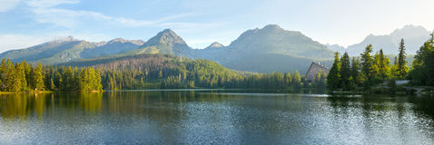 Panorama of mountain lake in National Park High Tatra Royalty Free Stock Photos
