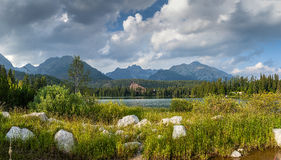 Panorama of mountain lake in National Park High Tatra Royalty Free Stock Photography