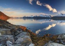 Panorama of a mountain lake. Royalty Free Stock Photo