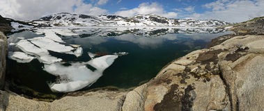 Panorama of mountain lake with reflection of the mountains, Norway. Panoramic view to mountain lake with reflection of the mountains and ice floes, Norway Royalty Free Stock Image