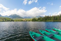 Panorama mountain lake Strbske Pleso in the Tatra mountains. Summers colors and boat for swimming. Panorama mountain lake Strbske Pleso in the Tatra mountains / Royalty Free Stock Photography