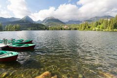 Panorama mountain lake Strbske Pleso in the Tatra mountains. Summers colors and boat for swimming. Panorama mountain lake Strbske Pleso in the Tatra mountains / Stock Images