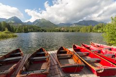 Panorama mountain lake Strbske Pleso in the Tatra mountains. Summers colors and boat for swimming. Panorama mountain lake Strbske Pleso in the Tatra mountains / Stock Photography