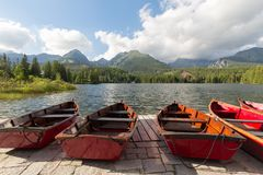 Panorama mountain lake Strbske Pleso in the Tatra mountains. Summers colors and boat for swimming. Panorama mountain lake Strbske Pleso in the Tatra mountains / Royalty Free Stock Photos