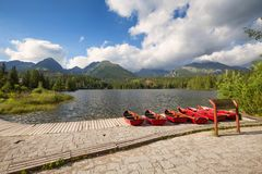 Panorama mountain lake Strbske Pleso in the Tatra mountains. Summers colors and boat for swimming. Panorama mountain lake Strbske Pleso in the Tatry mountains Royalty Free Stock Images