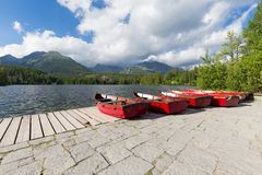 View of the Panorama mountain lake Strbske Pleso in the Tatra mountains. Summers colors and boat for swimming. Panorama mountain lake Strbske Pleso in the Tatra Royalty Free Stock Photos
