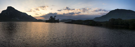 Panorama mountain and lake sunrise reflections beautiful landsca Royalty Free Stock Photography