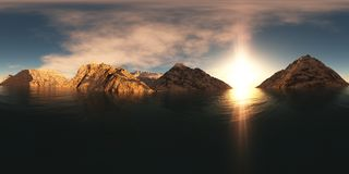 Panorama of mountain lake at sunset Stock Photos