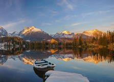 Panorama of a mountain lake in winter scenery, Strbske Pleso, Sl Royalty Free Stock Images