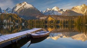 Panorama of a mountain lake in winter scenery, Strbske Pleso, Sl Stock Photography