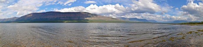 Panorama mountain lakes on the Putorana plateau. Royalty Free Stock Image
