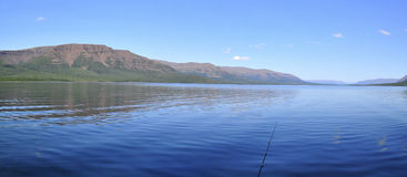 Panorama mountain lakes on the Putorana plateau. Stock Photography