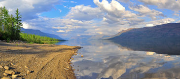Panorama mountain lakes on the Putorana plateau. Royalty Free Stock Images