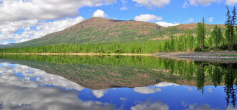 Panorama mountain lakes on the Putorana plateau. Royalty Free Stock Photography