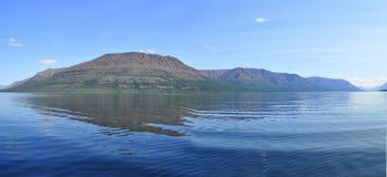 Panorama mountain lakes on the Putorana plateau. Stock Photos