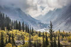 The panorama of mountain landscape of Ala-Archa gorge in the sum. Mer's day, Kyrgyzstan stock images