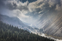 The panorama of mountain landscape of Ala-Archa gorge in the sum Stock Photography