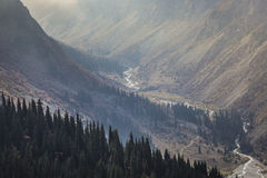 The panorama of mountain landscape of Ala-Archa gorge in the sum Royalty Free Stock Photography