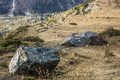 The panorama of mountain landscape of Ala-Archa gorge in the sum Stock Images
