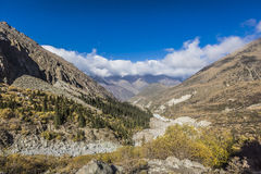 The panorama of mountain landscape of Ala-Archa gorge Royalty Free Stock Photo