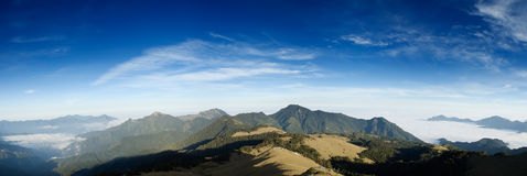 Panorama mountain landscape with blue sk Royalty Free Stock Photography