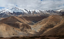 Panorama of mountain landscape in Ladakh, India Stock Photo