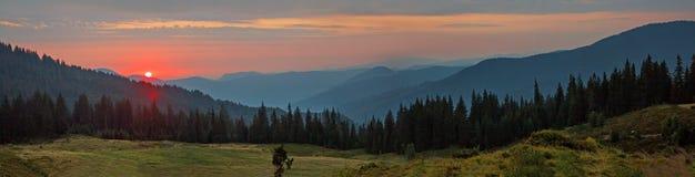 Panorama mountain landscape at sunset Royalty Free Stock Photo