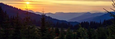 Panorama mountain landscape at sunset Stock Photography
