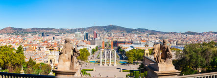 Panorama from the mountain Montjuic. View to square of Spain. Barcelona Royalty Free Stock Photos