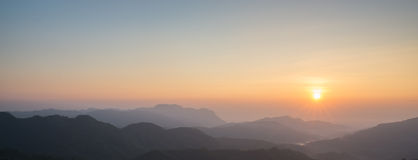 Panorama mountain morning sunrise Royalty Free Stock Images