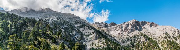 Panorama of mountain Olympus peaks view from refuge Royalty Free Stock Photo