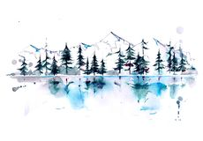 Mountain forest. Panorama with mountain peaks and fir-trees vector illustration