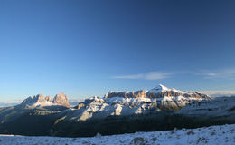 Panorama of mountain range. In winter Stock Photos