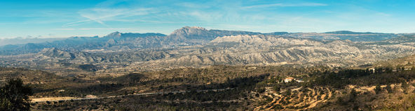 Panorama of mountain range in Alicante Stock Photo