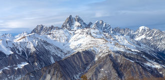Panorama mountain range in the Caucasus, Ushba Royalty Free Stock Photography