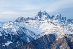 Panorama mountain range in the Caucasus, Ushba Stock Photo