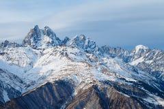 Panorama mountain range in the Caucasus, Ushba Royalty Free Stock Photos