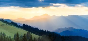Panorama of mountain at sunset Royalty Free Stock Photo