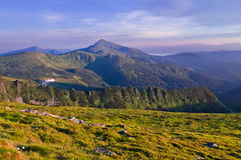Panorama of the mountain range with Mount Goverla in the center royalty free stock photos