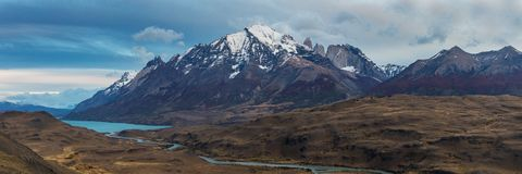 Panorama of the mountain range of Torres del Paine Royalty Free Stock Photo