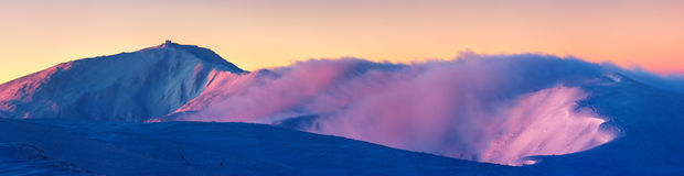 Panorama of the mountain range in winter Royalty Free Stock Images